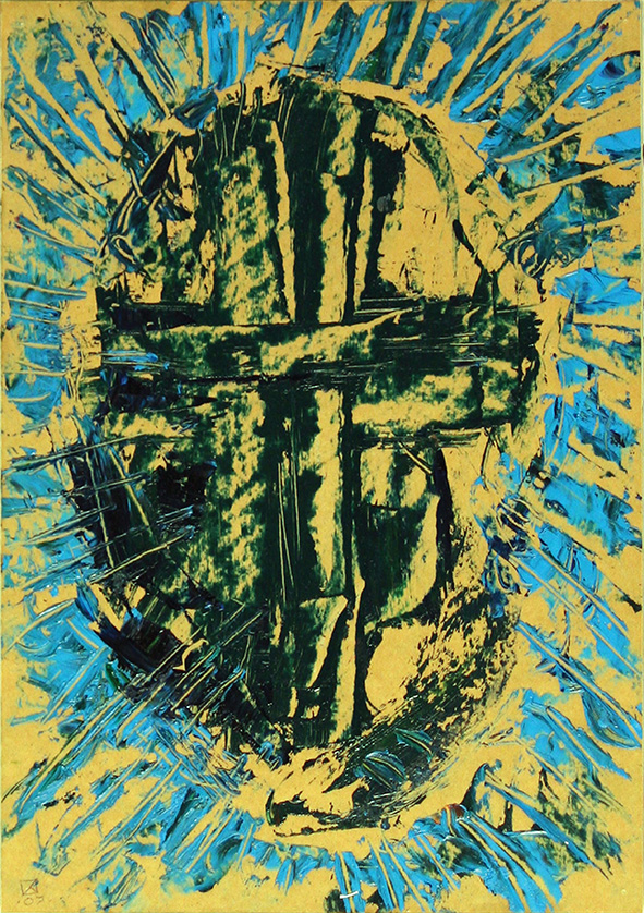 Central Side of Cross (incl. in the construction of the Collected Feelings of Venice). 2007. Oil on cardboard. 29.5 x 21