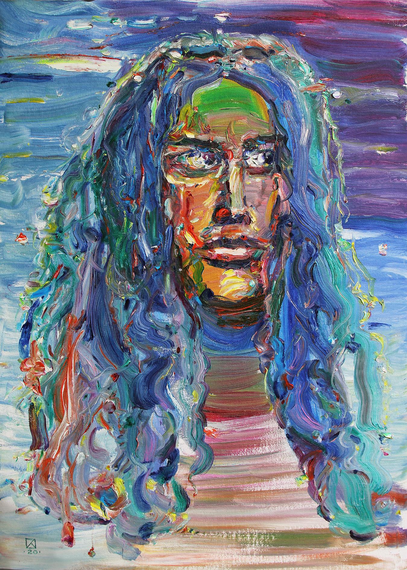 Igor Hippie. Hello from the 70s. 2020. Oil on canvas, cardboard. 70 x 50
