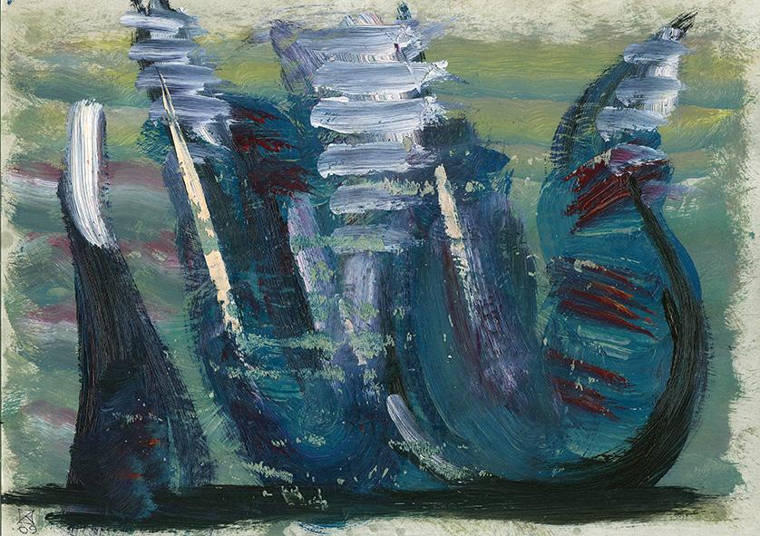 The Curtain. Three Gondolas. 2009. Oil on cardboard. 21 x 29.5