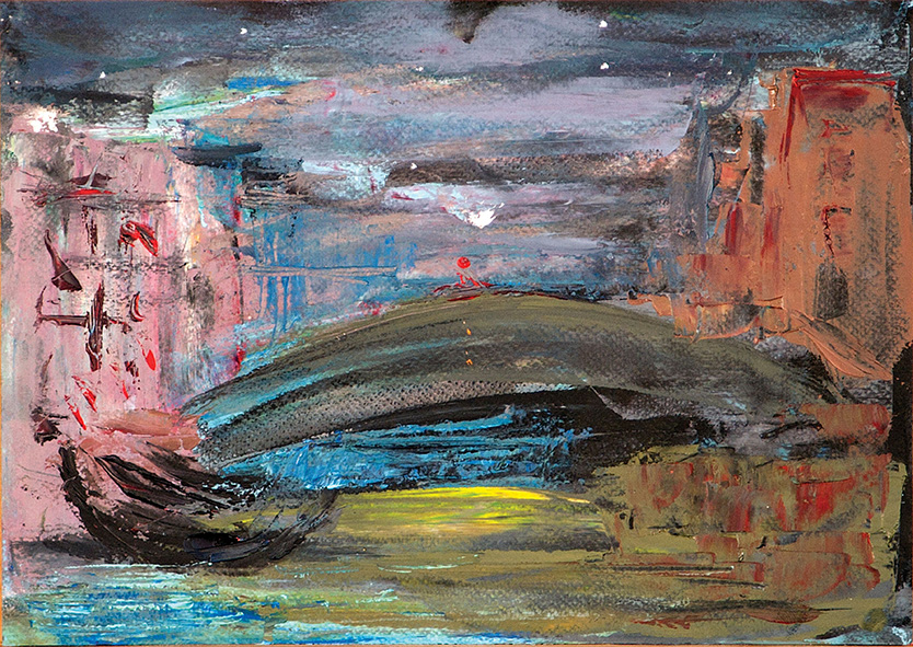 Evening City. 2010. Oil on cardboard. 21 x 29.5