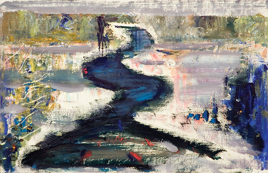 Lagoon. 2010. Oil on canvas, cardboard. 26 x 39