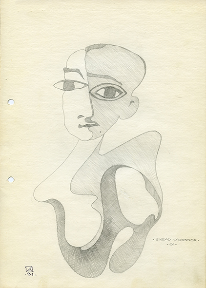 Sinead O'Connor. 1991. Pencil on paper. 30 х 21