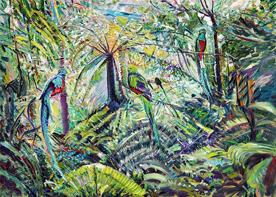 Quetzal Birds. 2012. Oil on canvas. 165 x 220