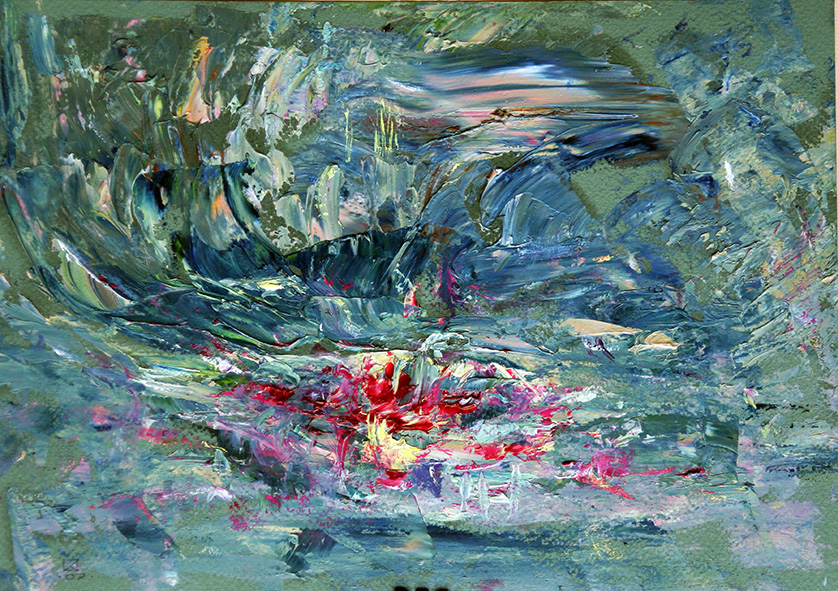 Abandoned but Fabulously Beautiful Pond. 2007. Oil on cardboard. 21 x 29.5