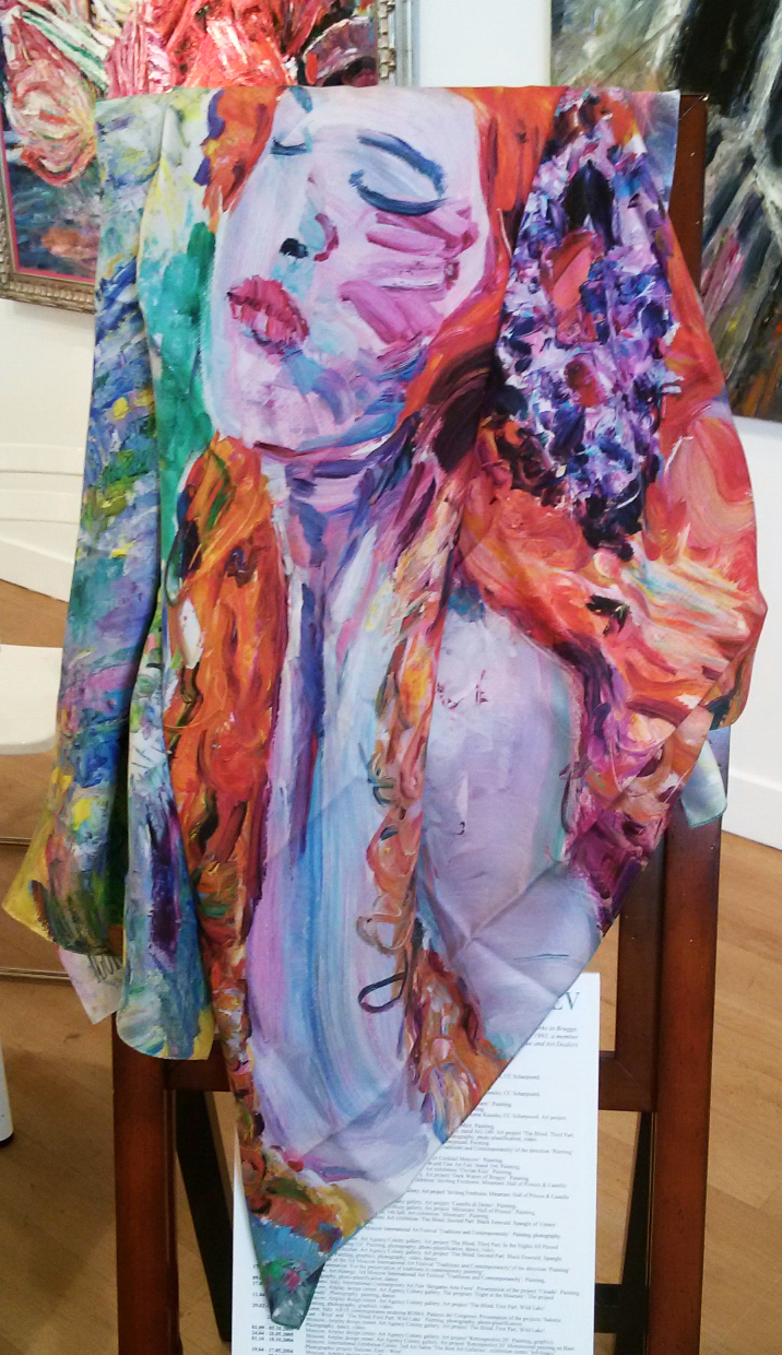 Silk shawl. 100 x 100. On the stand of the Art Nocturne Knocke, Belgium, 2016