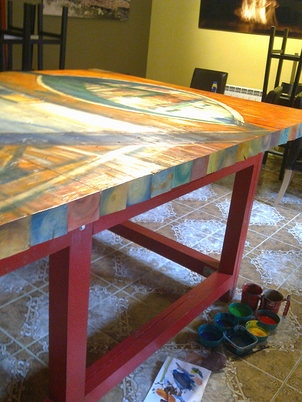 The cafeteria main big table was painted by Igor Kormyshev