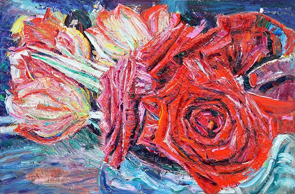 Flowers. Roses. 2013. Oil on canvas. 80 х 120