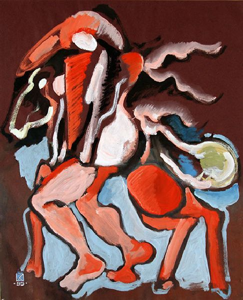 Figure. Horse. Dedicated to G. de Chirico. 1995. Mixed media on colored paper. 60.5 х 49.5