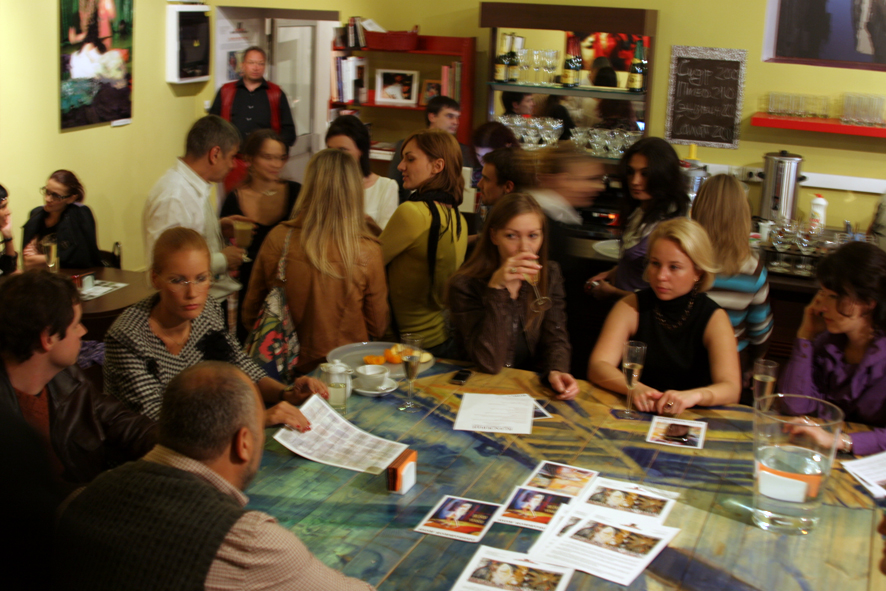 In the gallery cafe after the vernissage.