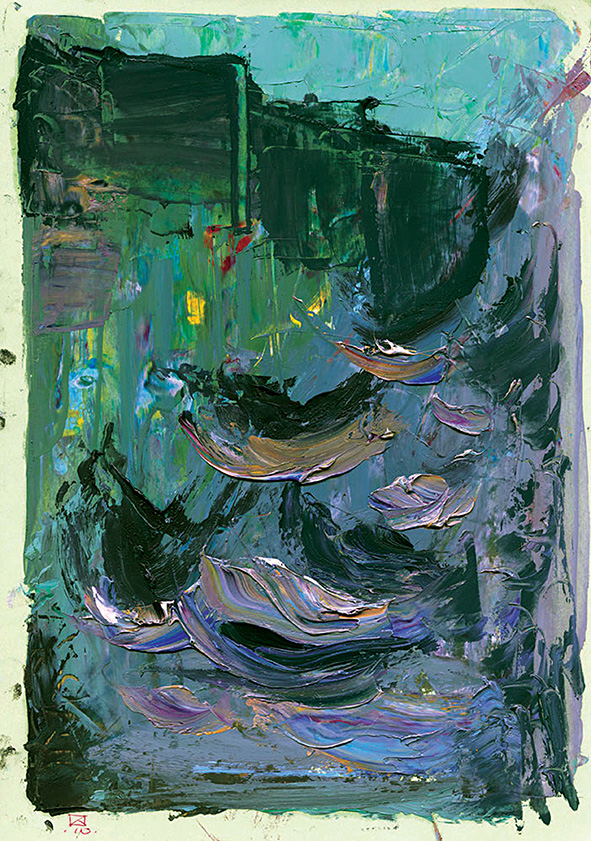 Lagoon. Grey House.  2010. Oil on cardboard. 29.5 х 21