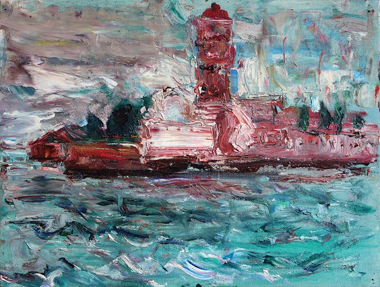 Isle of Deadmen. 2009. Oil on canvas, cardboard. 30 x 40
