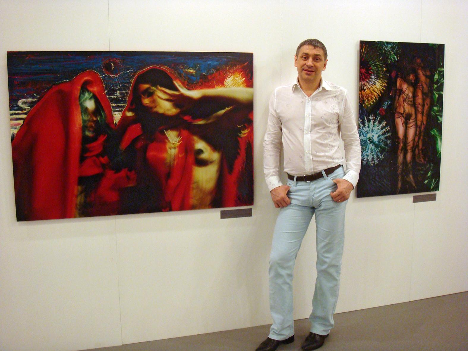 International Art Fair 'Arte Contemporanea Moderna Roma'. Rome, Italy, 2008. At the stand.