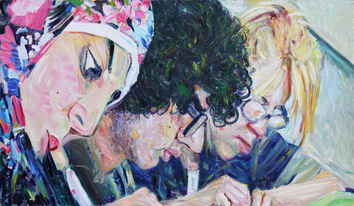 Three of Students. 2011. Oil on canvas. 70 x 120