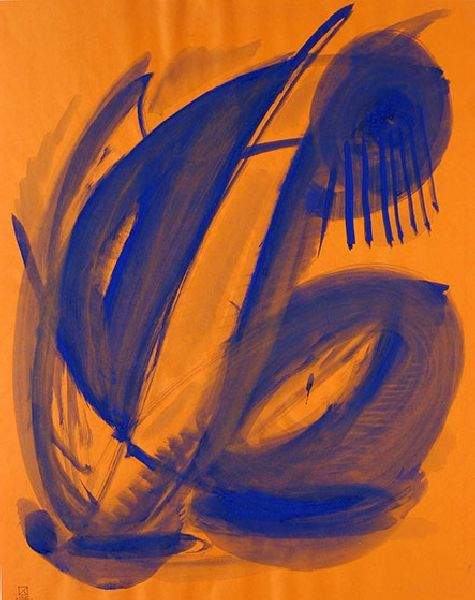 Morning. 1995. Gouache on colored paper. 61 х 48.5