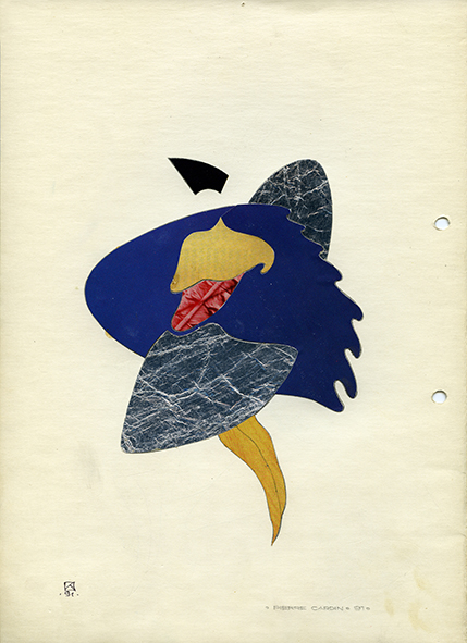 Pierre Cardin. 1991. Collage on paper. 30 х 21