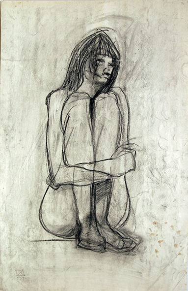 Nude. 1991. Charcoal on paper. 80.5 x 52