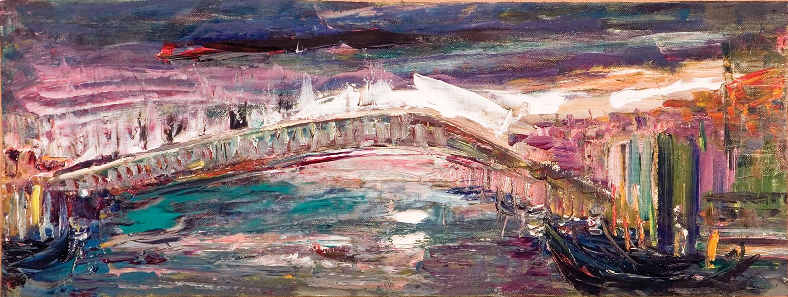 Gondolas Are At the Pier (2). 2010. Oil on canvas, cardboard. 23.5 х 62.5