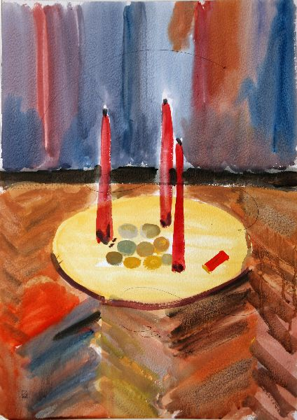 Three Candles. 1995. Watercolor on paper. 64 х 45