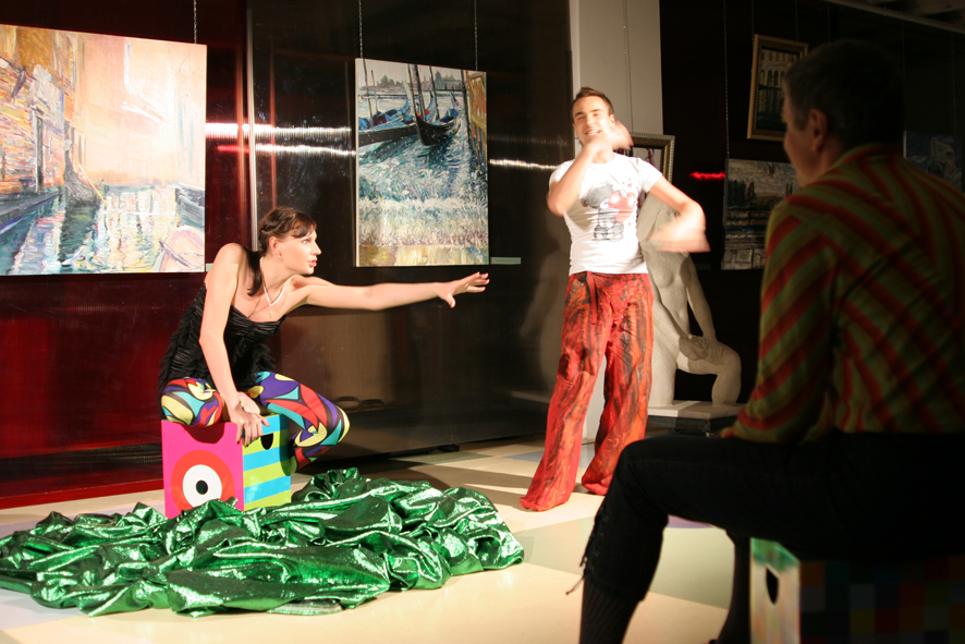 Performance on the vernissage 12.08.2010 in the gallery Art-Agency Colony on the Red October, Moscow