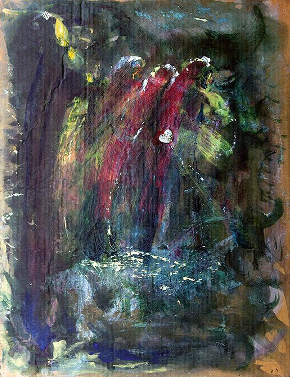 Three Figures. 2007. Acrylic on cardboard,  metallic object. 30.5 x 23