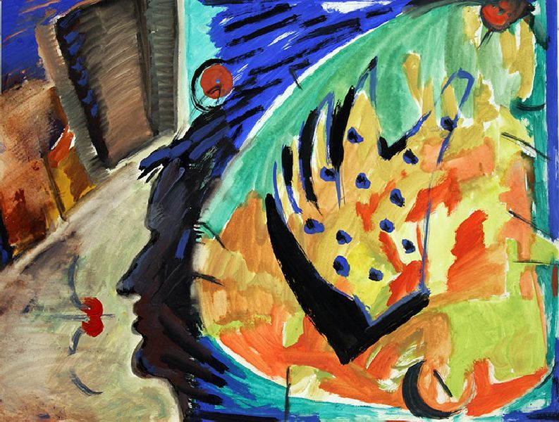 There Is a Glove in My Head. 1995. Mixed media on paper. 44.5 х 58.5