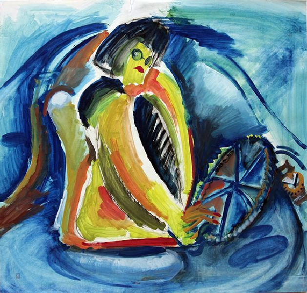 Julia Star. Driving (the journal Elle). 1996. Mixed media on paper. 61 х 64