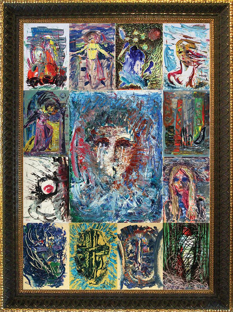 The Construction Collected Feelings of Venice. 2007. Oil on cardboard, photo, felt-tip pen, frame. 140 x 105