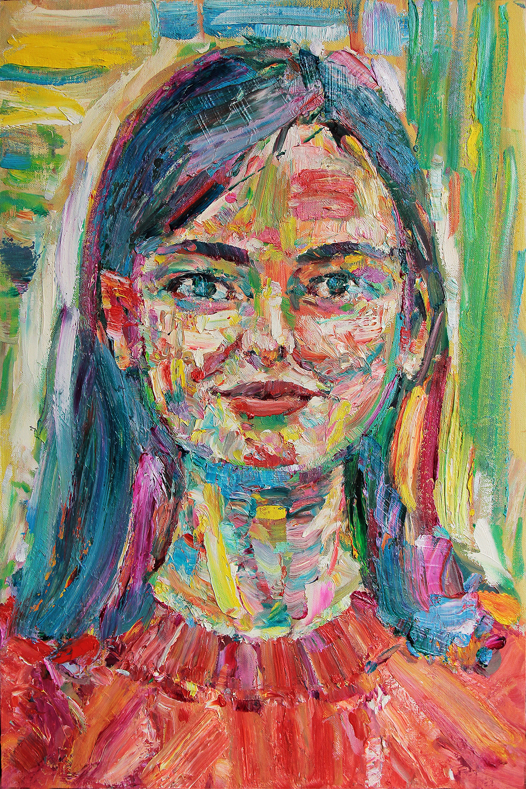 Mashenka. 2019. Oil on canvas. cardboard. 60 x 40
