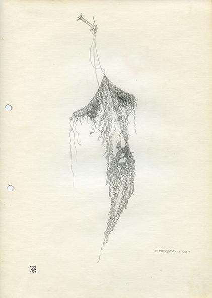 Nail. 1991. Pencil on paper. 30 х 21