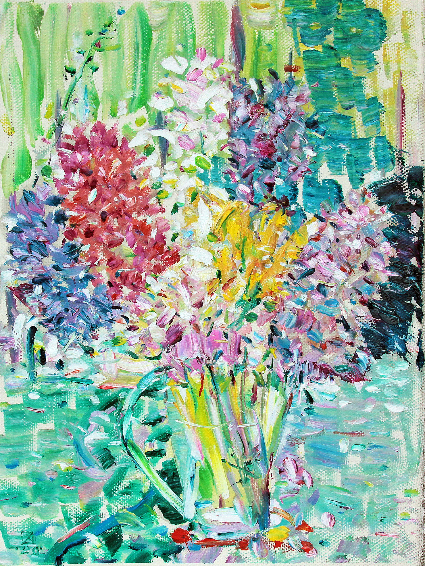 One bouquet. Triptych center. 2020.  Oil on canvas. 46,5 x 35