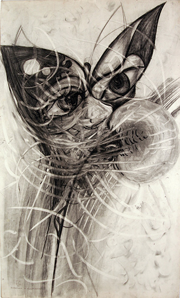 Butterfly and Dandelion. 1991. Charcoal on paper. 86 х 52