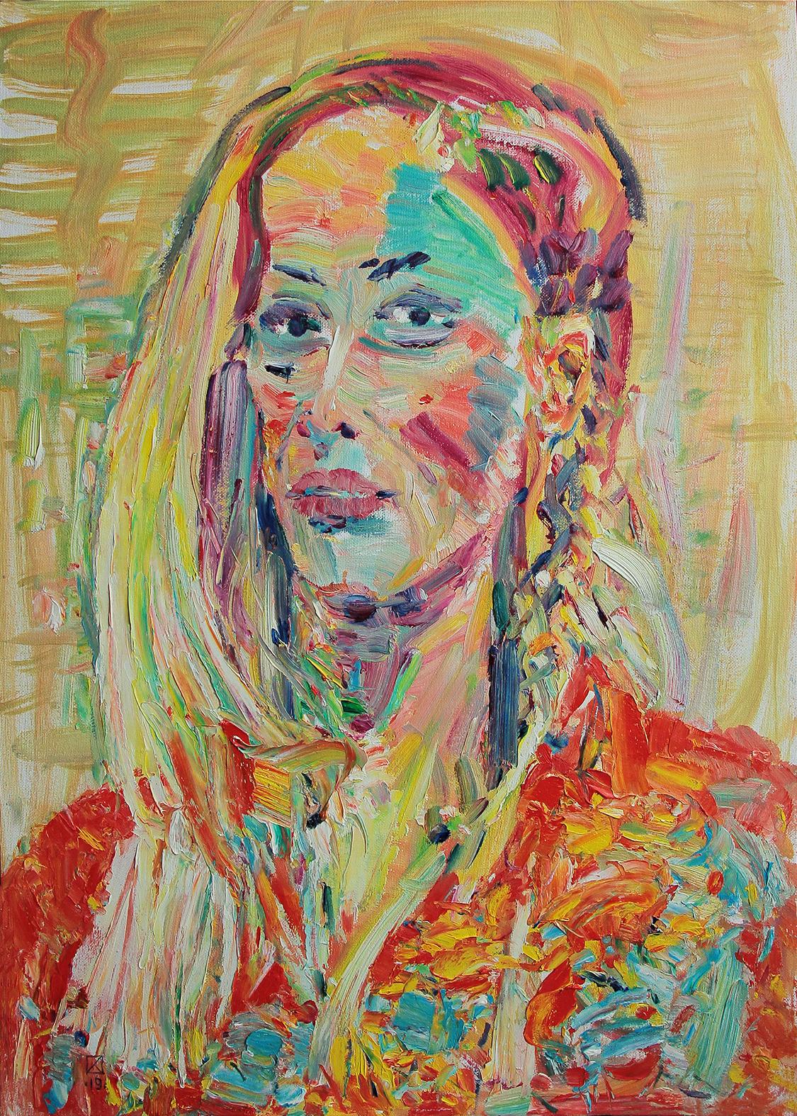 Female Portrait. 2019. Oil on canvas, cardboard. 70 x 50