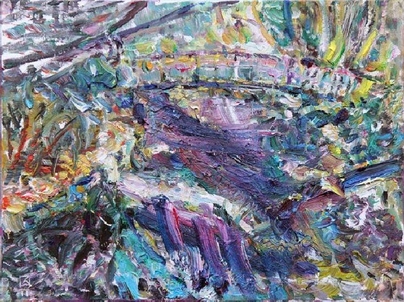 Miramare. Evening. Pond. 2011. Oil on canvas. 30 x 40
