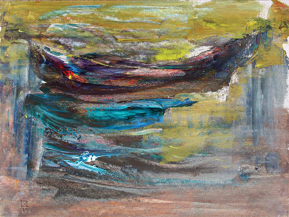 Boat. Water Smooth Surface. 2010. Oil on canvas, cardboard. 24 х 32.5