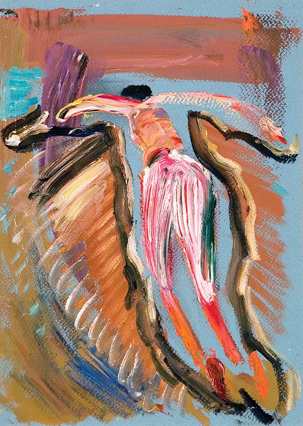 Leaping Man. Closer to the Sky. 2010. Oil on cardboard. 29.5 х 21