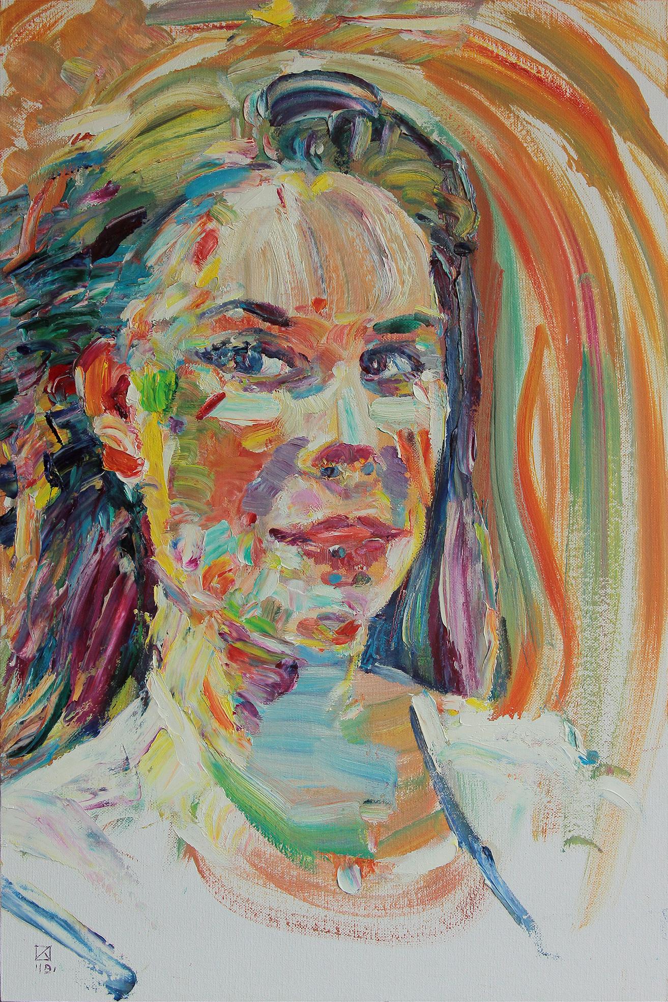 Interviewer. 2019. Oil on cardboard, canvas. 60 x 40