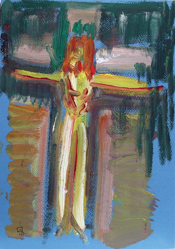 Crucifix in the Alcove. 2010. Oil on cardboard. 29.5 x 20.5