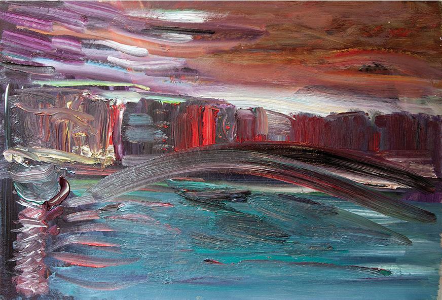 Gondolas Are at the Pier (1). 2010. Oil on cardboard. 34 х 50