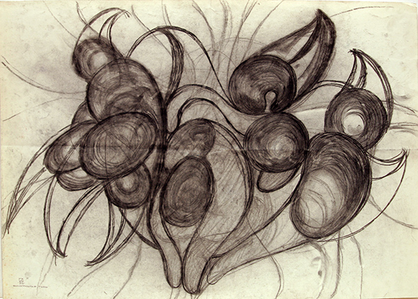 Grape Lips. 1993. Charcoal on paper. 61 х 86