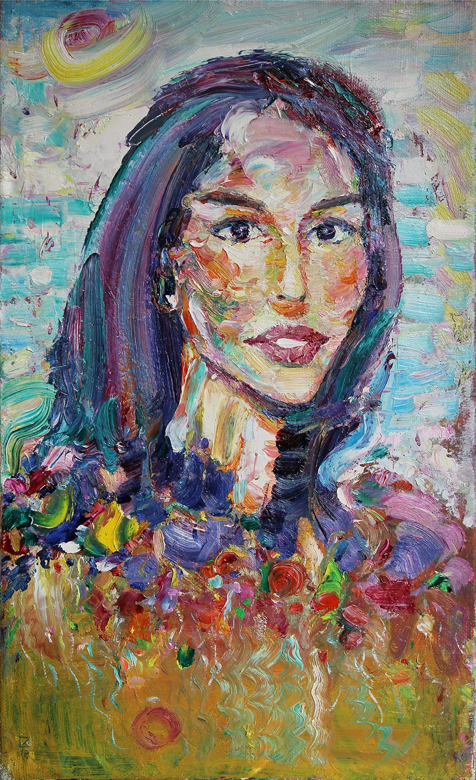 Portrait of Lena. 2019. Oil on canvas. 60,5 x 35