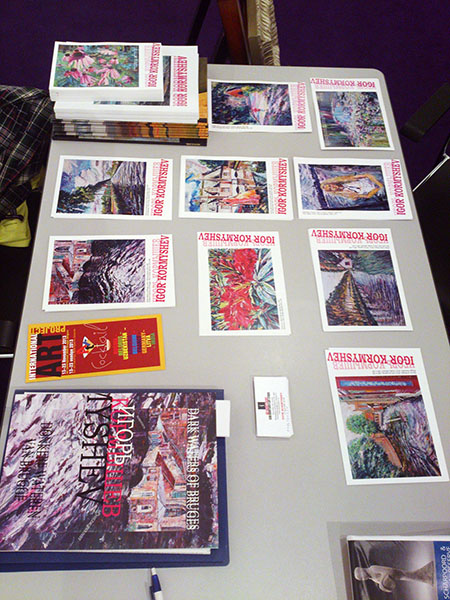 Postcards, flyers and catalogs of Igor Kormyshev gallery at the exhibition stand