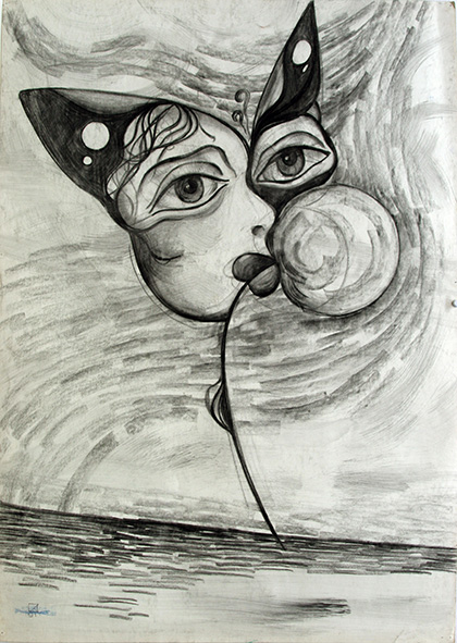 Butterfly and Dandelion 1991 Charcoal on paper 86 х 61