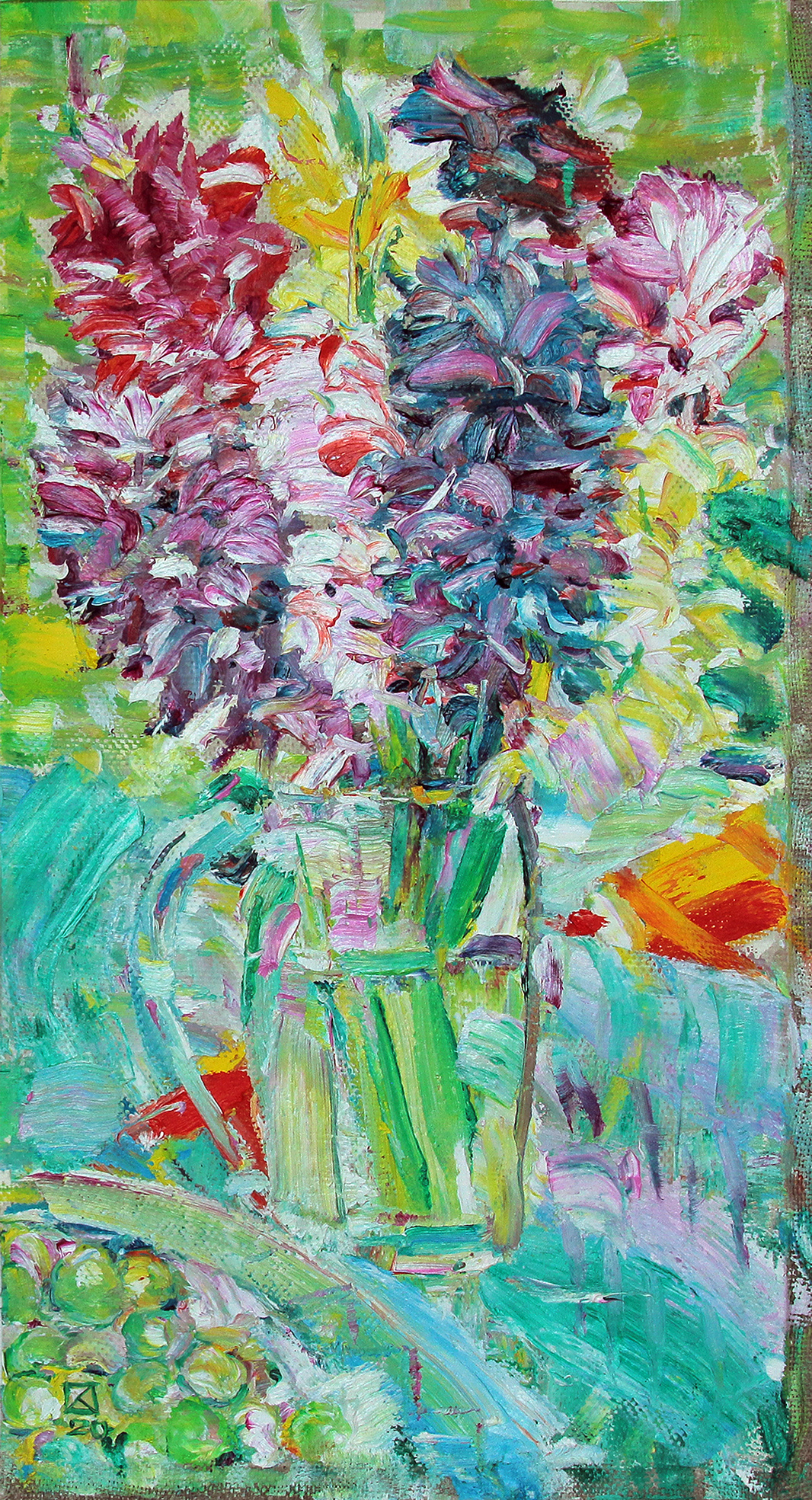 One bouquet. Triptych left. 2020. Oil on canvas. 48 x 26
