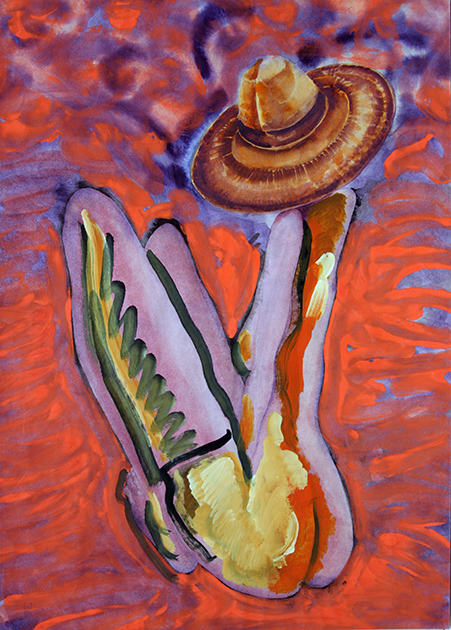 Hat. 1994. Mixed media on paper. 79.5 х 56.5