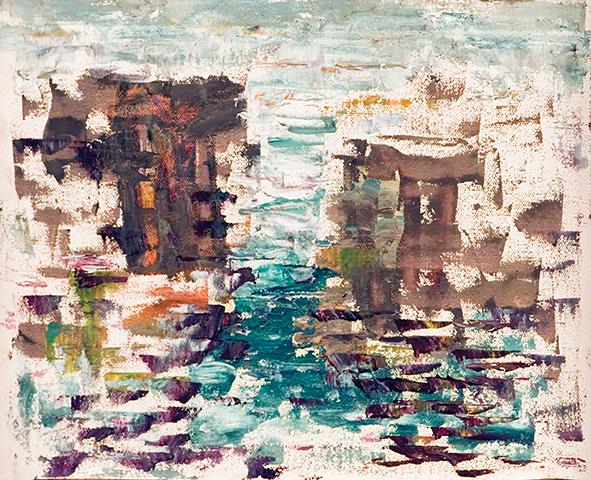 City Mirage on the Water. 2010. Oil on canvas, cardboard. 24 х 31.5