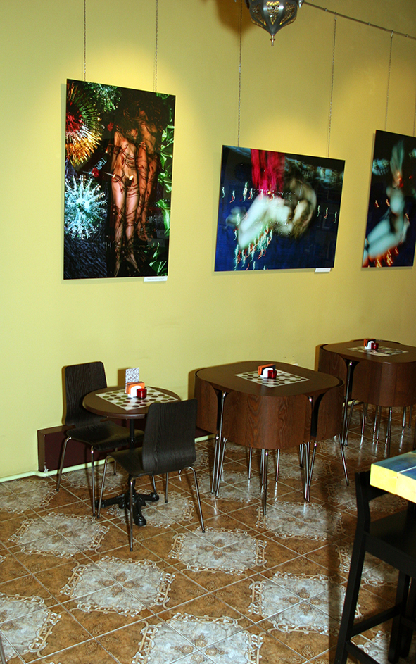 Interior of the Art Agency Colony Cafeteria with Igor Kormyshev artworks