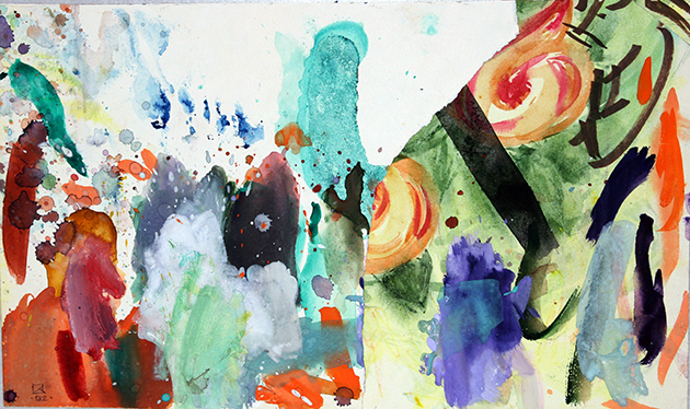 Green Phallus and the Glove. Dedicated to Max Klinger. 1992. Mixed media on paper. 23.5 х 39