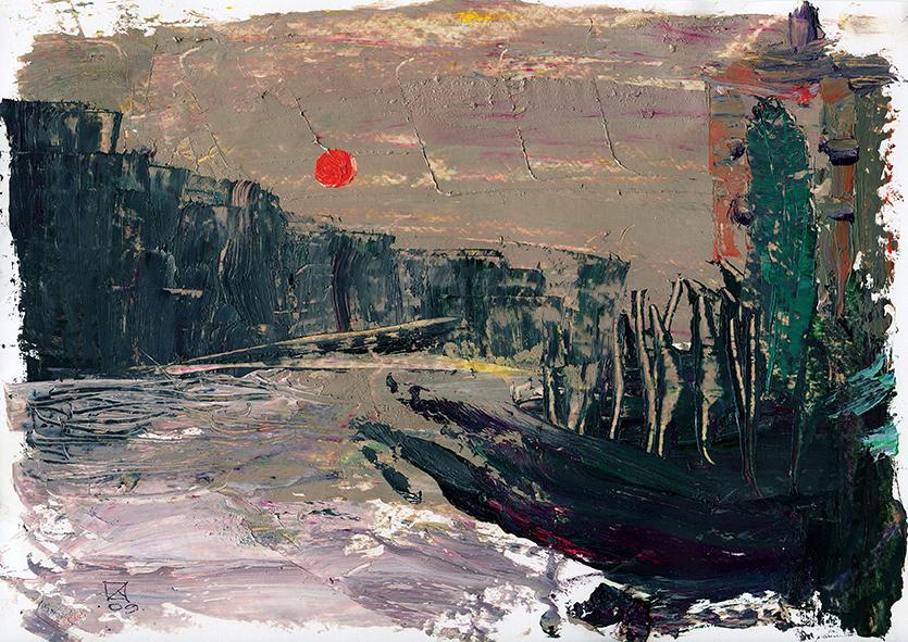 The Setting Sun. 2009. Oil on cardboard. 21 х 29.5