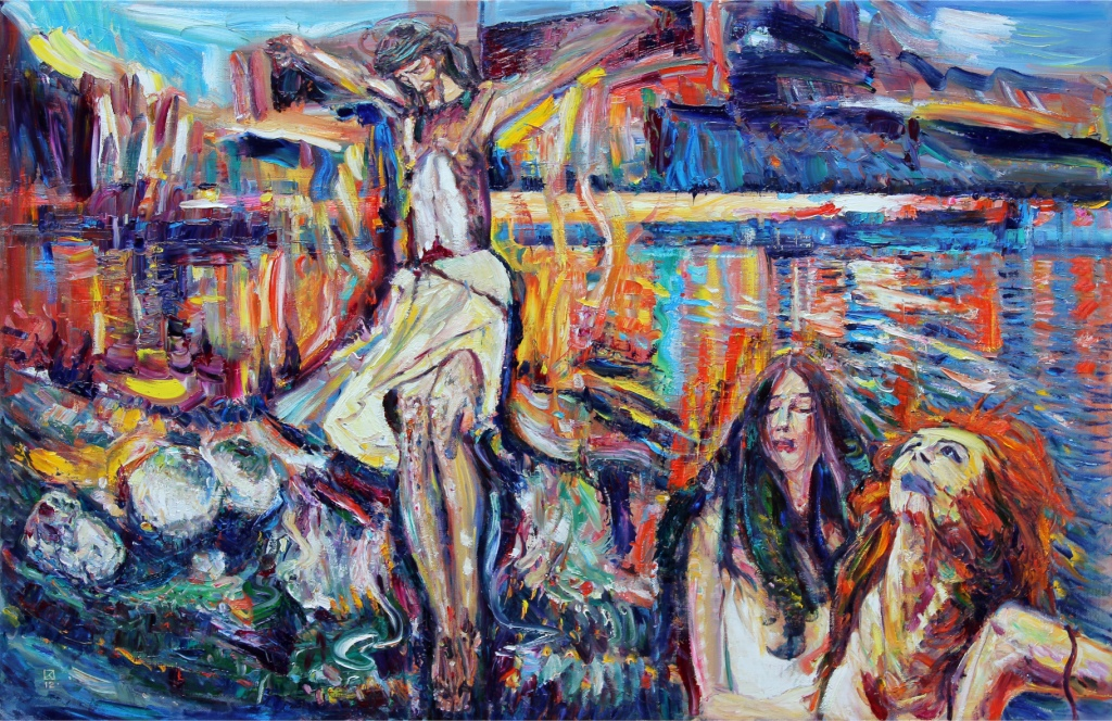 Sunset Crucifixion Grotto.  2012. Oil on canvas. 110 x 168