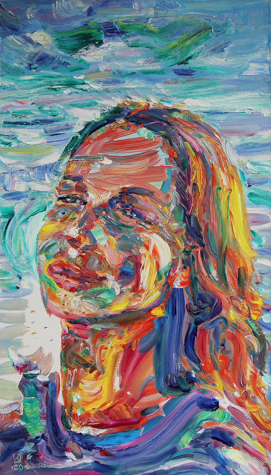 Portrait of Varya. 2020. Oil on canvas. 70 x 40